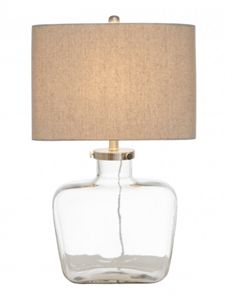 Clear Glass lamp with linen shade