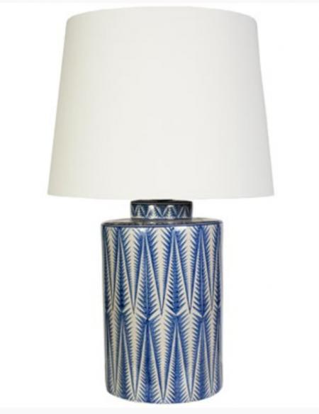 Patterned blue ceramic lamp