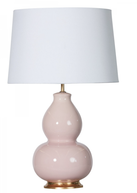 Pale pink lamp with white shade