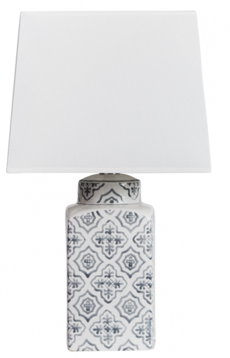 Ceramic patterned lamp with white square shade