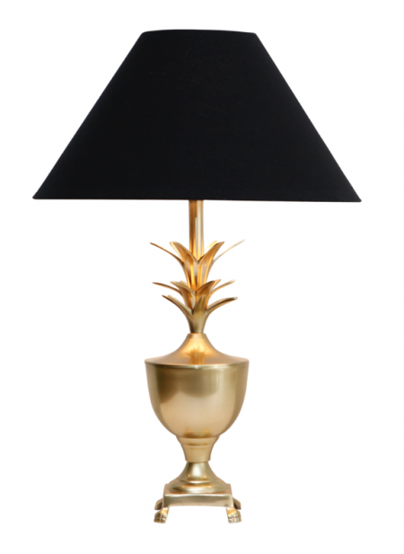 Brass Pineapple Lamp with Black Shade