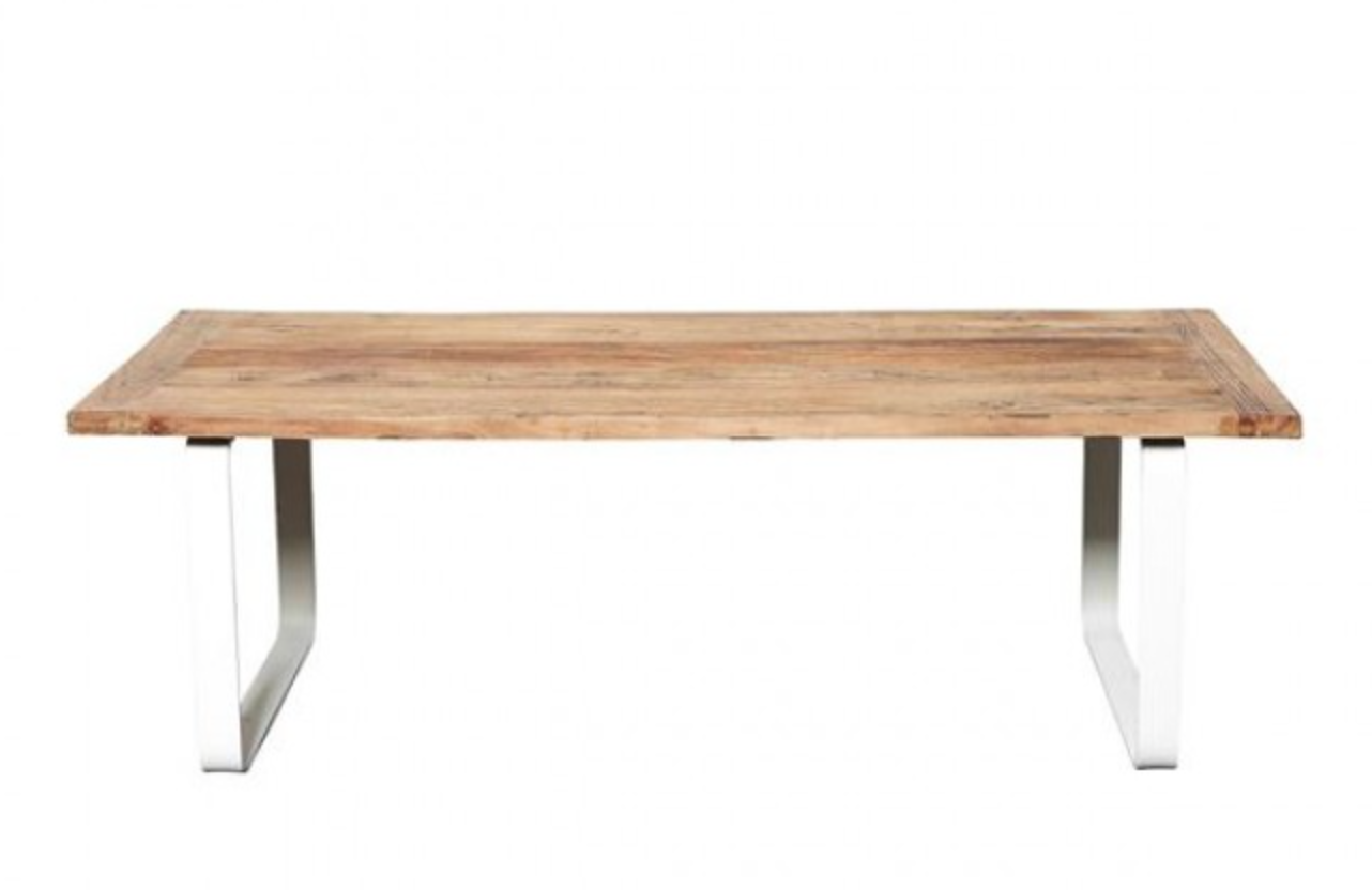 Rustic Elm Coffee Table With White Metal Legs Jemden Interiors