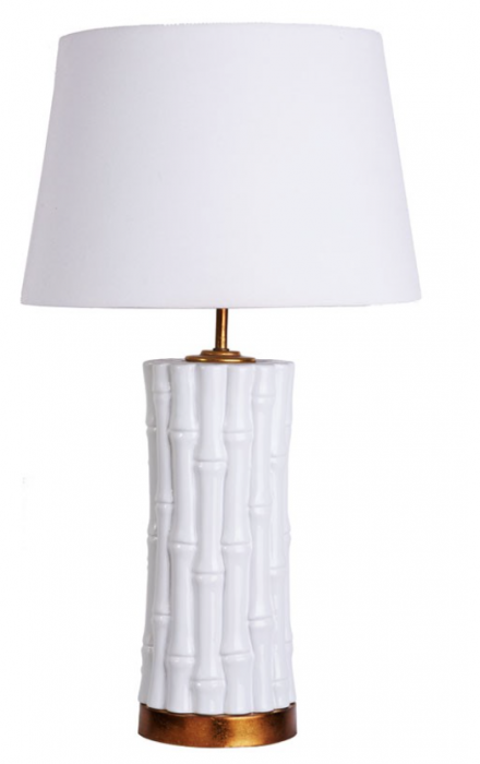 White bamboo style lamp with white shade