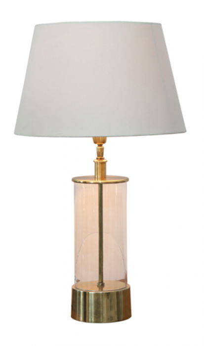Brass & glass lamp with white shade