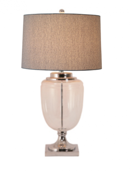 Large Glass Lamp with Linen Shade