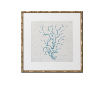 Coral Print with bamboo style frame in light blue