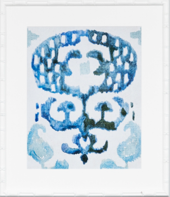 Blue and white abstract print