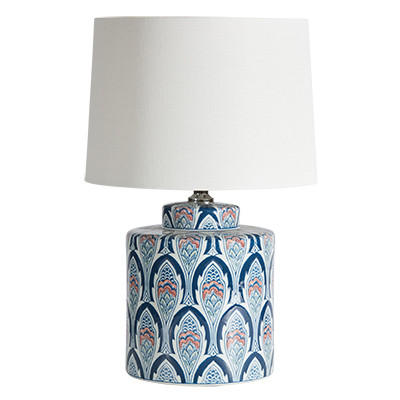 Porto lamp - blue ceramic lamp with white shade