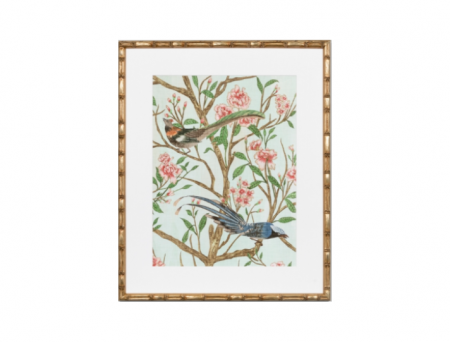 Bird Chinoiserie print in a bamboo style frame