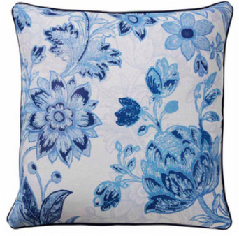 Blue floral cushion (feather filled)